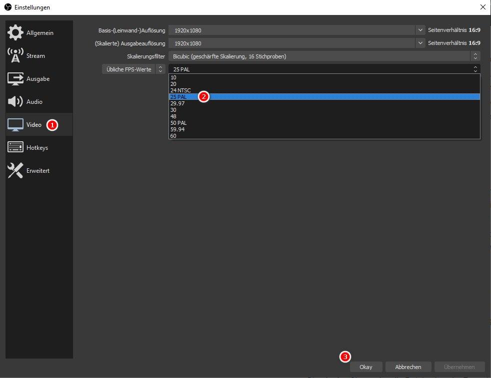 OBS Studio, Video-Einstellungen anpassen