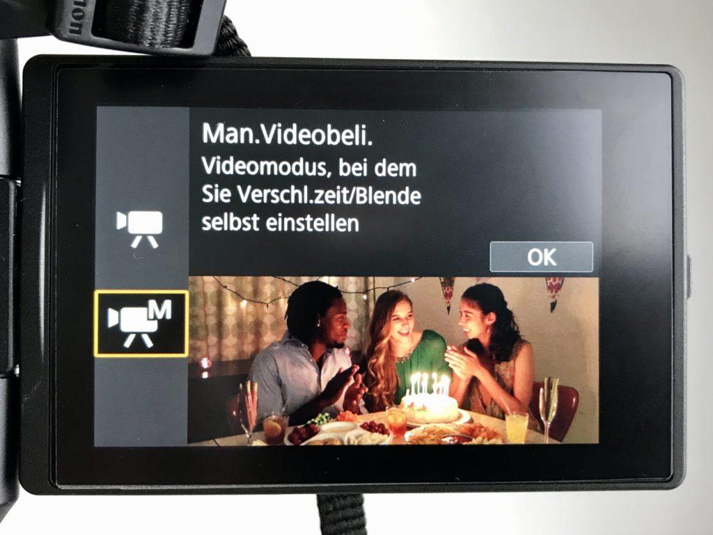 Schalte die Kamera in den manuellen Videomodus.